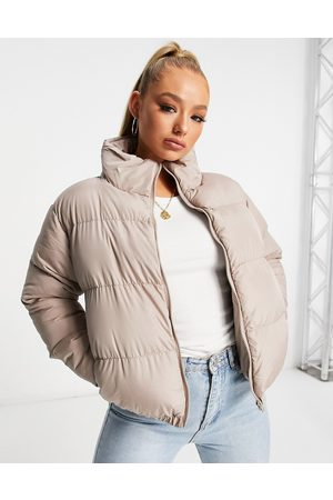 Threadbare Cropped puffer jacket in taupe-Tan