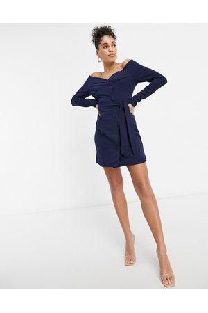 Club L Club L bardot tailored tux dress in navy