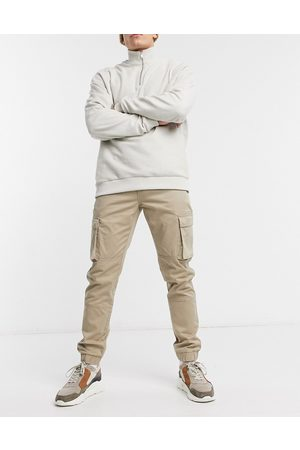 Only & Sons Cuffed cargo pants in slim fit stone