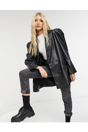 ASOS Leather look jacket with extreme sleeve in black