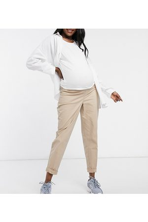 ASOS ASOS DESIGN Maternity chino pants with under the bump waistband in stone