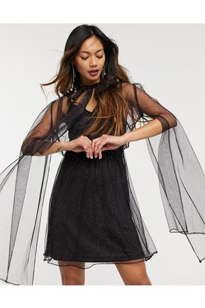 Forever U Organza dress with tie neck detail in black