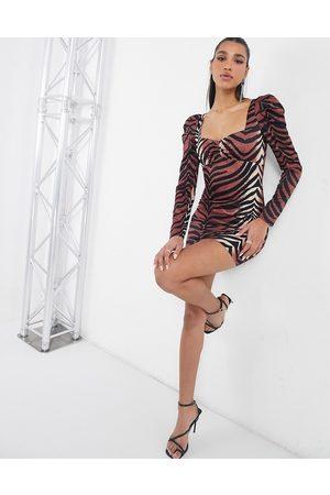 Rare Fashion London statement puff sleeve mini dress in tiger print-Multi
