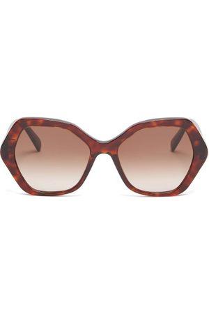 Céline Women Sunglasses - Angular-round Tortoiseshell-acetate Sunglasses - Womens - Tortoiseshell