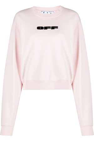 OFF-WHITE Women Sweaters - Flocked logo cotton sweatshirt