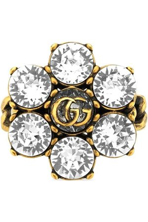 Gucci Crystal-embellished Double G ring