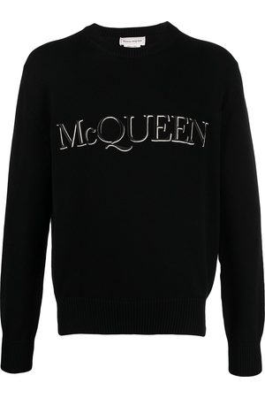 Alexander McQueen Men Sweaters - Logo-embroidered knitted jumper