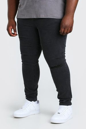 Boohoo Mens Charcoal Plus Size Busted Knee Super Skinny Jean