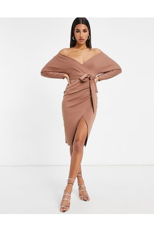 ASOS Bardot wrap batwing sleeve midi dress with self tie belt in brown-Multi