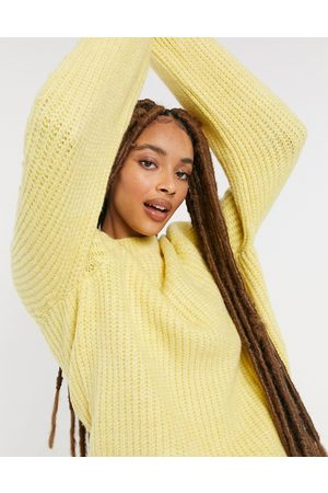 Pieces Knitted jumper with rib detail in yellow