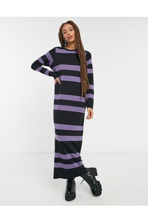 ASOS Long sleeve maxi t-shirt dress in dusty purple and black stripe