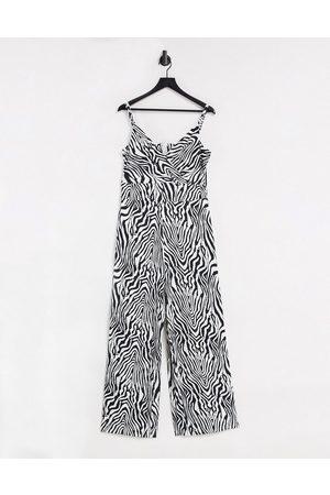 Liquorish Wide leg jumpsuit in zebra print-Multi