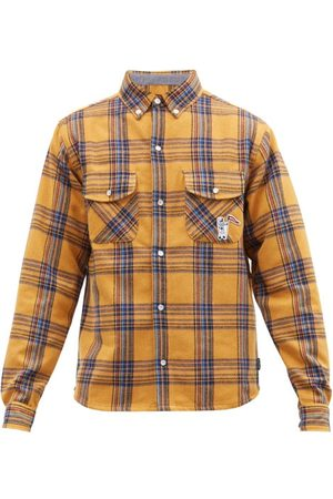 Billionaire Boys Club Astro-appliqué Checked Brushed-flannel Shirt - Mens