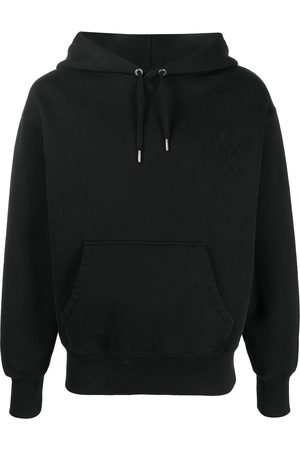 Ami Men Hoodies - Logo patch cotton hoodie