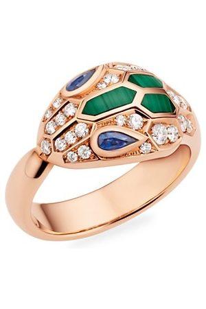 Bvlgari Rings - Serpenti Seduttori 18K , Diamond, Blue Sapphire & Malachite Ring
