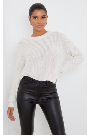 PRETTYLITTLETHING Cream Basic Crew Neck Knitted Jumper