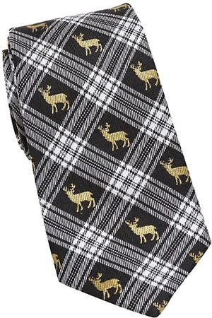 Cufflinks, Inc. Plaid Stag Silk Tie
