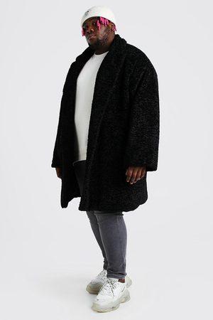 Boohoo Mens Plus Size Faux Fur Teddy Coat