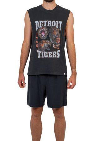 Majestic Men Tank Tops - Athletic Detroit Tigers Vintage Rock Mens Baseball Muscle Tank - Raven