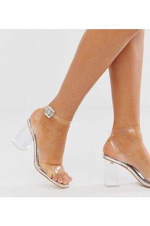 Simmi Wide Fit Simmi London Wide Fit Kehlani silver clear flared heel sandals