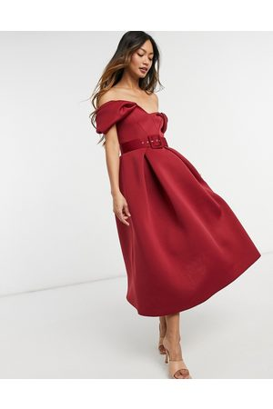 ASOS Bow belted prom midi dress in wine-Red