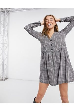 New Look Button front mini dress in grey check print