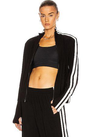 Norma Kamali Side Stripe Turtleneck Jacket in & Offset Stripe