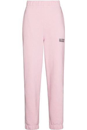 Ganni Logo-embroidered tapered track pants