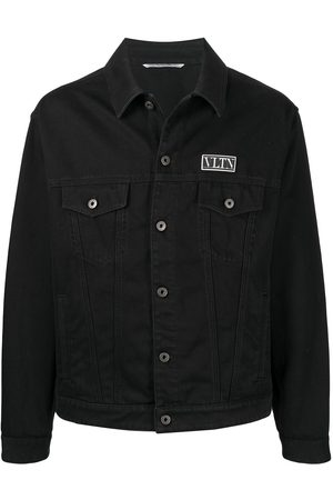 VALENTINO Logo-patch buttoned jacket