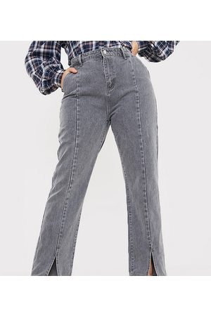 In The Style X Olivia Bowen high waisted split front straight leg jeans in grey
