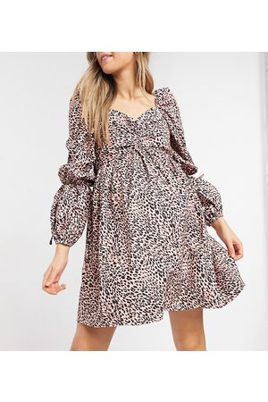 In The Style Maternity Women Printed Dresses - X Dani Dyer puff sleeve shirred detail mini skater dress in pink leopard print-Multi