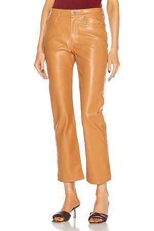 SIMON MILLER Women Leather Pants - Straight Leg Pant in Toffee