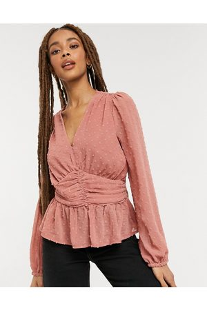 New Look Dobby ruched front blouse in mid pink