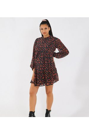 Missguided Smock dress with keyhole back in black floral