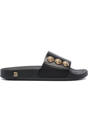 Balmain Women Flat Shoes - Button-embellished flat slides