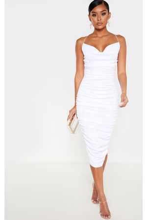 PRETTYLITTLETHING Crinkle Texture Ruched Cowl Neck Midi Dress
