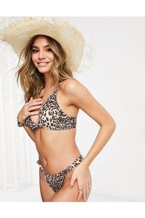 ASOS Mix & match rib knot crop bikini top in leopard print-Multi