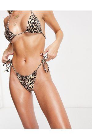 ASOS Mix & match rib channel tie side bikini bottom in leopard print-Multi
