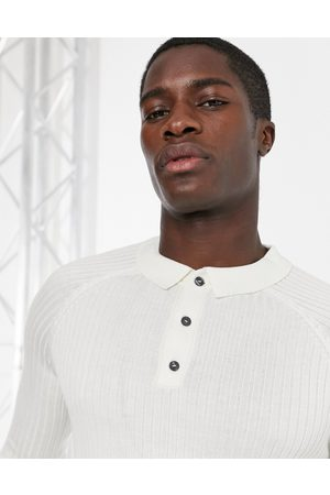 New Look Ribbed muscle fit long sleeve polo in white