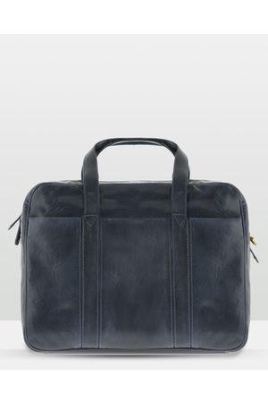 Cobb & Co Kemp Leather Laptop Bag - Satchels (Navy) Kemp Leather Laptop Bag