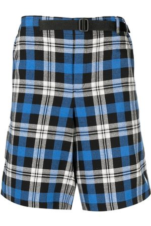 MARCELO BURLON Check-pattern belted shorts
