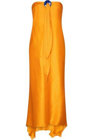 GALVAN Lago halterneck silk jacquard dress