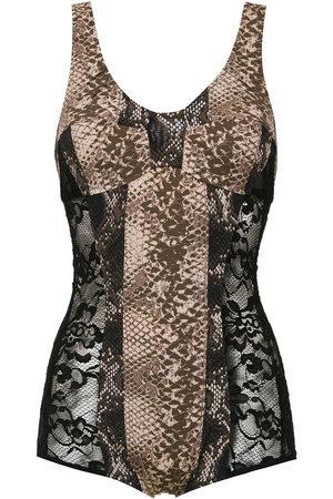 AMIR SLAMA Printed lace swimsuit