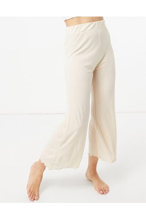 ASOS Mix & match lounge rib culottes in oatmeal-Beige