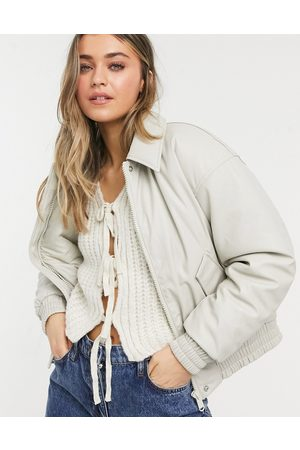 ASOS Winter Jackets - Leather-look padded bomber jacket in putty-Blue