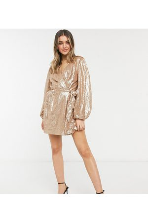 In The Style Women Party Dresses - Exclusive sequin square wrap detail mini skater dress in gold