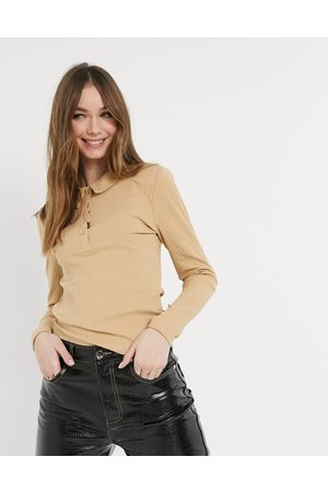 Only Women Polo Shirts - Polo top in beige