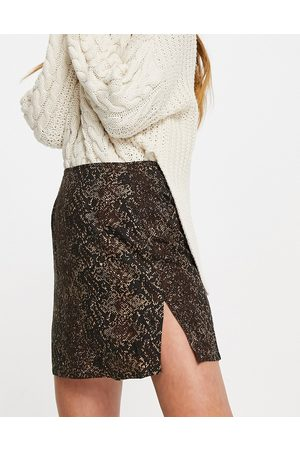 Motel Women Printed Skirts - Mini a-line skirt in snake print with thigh split-Brown
