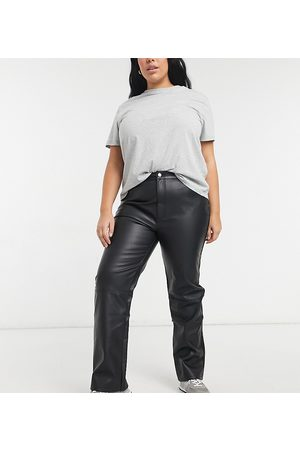 ASOS Leather Pants - ASOS DESIGN Curve mid rise 90s straight leg pants in black faux leather
