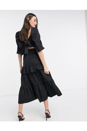 Virgos Women Midi Dresses - VL The Label puff sleeve volume bow back tiered frill midi dress in black
